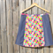 Bees in pink & purple & denim A line panel skirt