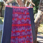 Cherry & denim A line panel skirt