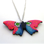 CUSTOM DESIGN Long Silver Sweater Chain Necklace with Large Colourful Butterfly