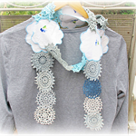 Serena Scarf. Vintage Doilies Doily. Blue Clothing. Crochet. Shabby Chic
