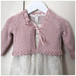 Pink Cardigan - Size 0-3 months - Hand knitted - Bamboo Silk Mix