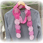 Fleur Scarf. Vintage Doilies Doily. Pink Clothing. Crochet. Shabby Chic