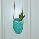 Mint Scallops Ceramic Hanging Planter