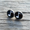 Glass dome stud earrings - black and white musical note
