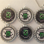 SET OF 6 MINECRAFT BOTTLECAP NECKLACE OR KEYRING PARTY FAVORS