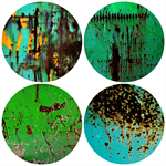 ☆ Green Rust Marking {4} Circle Packaged Magnet Set