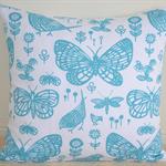 Teal Butterflies Designer Cushion Cover