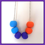 6 Bead Polymer Clay Necklace with Ball Chain and Choker - Orange, Purple & Blue