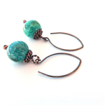 Dori Green stone and Copper drop earrings by Sasha + Max Studio
