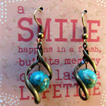 Blue Howlite Stone in Brass Twist Earrings