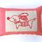 Little Hound on Red and White Houndstooth Cotton Cushion Cover