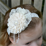 Special Occasion Headband - Ivory - size 6 months to 3 yrs