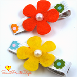 Citrus coloured flower hair clips 2pk