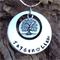 names / own message personalised necklace, with antique silver tree of life.