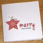 Set 4 Merry Christmas Cards with beautiful star - red or gold