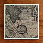 1 x Ceramic Tile Drink Coaster World Map Father's Day Gift for Dads