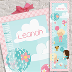 (Up Up & Away) Personalised Fabric Height Chart 30x106cm