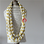 Gold Stripe Tshirt Necklace with Removable Brooch