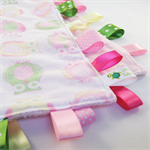 ** FREE POST ** PINK OWLY OWLS Baby   Security Blanket Blankie Taggie Toy