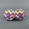 Stud Earrings - Dark and Moody Chevron Round Wooden