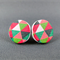 Stud Earrings - Autumn Triangles Round Wooden