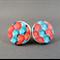 Stud Earrings - Orange and Aqua Hexagons Wooden