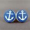 Stud Earrings - Anchors on Blue Round Wooden