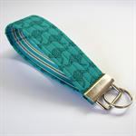 Wrist Key Fob - Jade Green Kangaroos with blue & white stripes