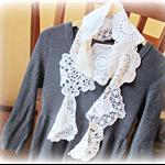 Julia Scarf Vintage Doilies Cream White Beige Spring Summer Autumn