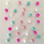 Felt Ball Garland Turquoise, Light Pink, Pink & White