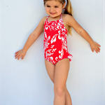 Sizes 0 to 4 Girls Hawaii Red Ruffle Swimmers