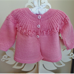 Hand Knit, Wool, Baby Lace Jacket Cardigan, Musk Pink, Rosebuds, 6-12mth