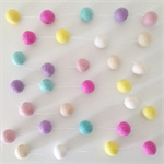 Felt Ball Garland Turquoise, Light Pink, Pink, Lilac, Sand, Yellow & White