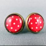 Stud Earrings - Red Spots Glass Cabochon