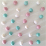 Felt Ball Garland Turquoise, Light Pink & White