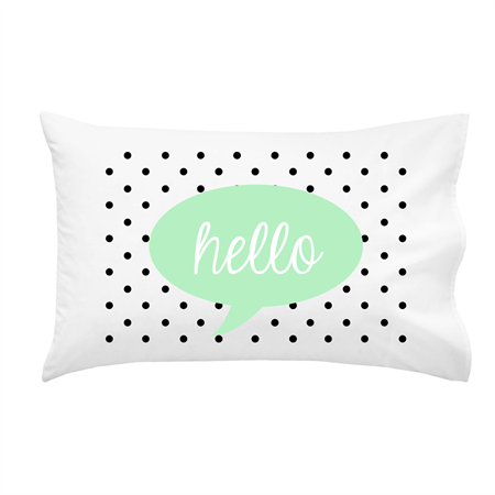 """Hello"" 100% Cotton Pillowcase"