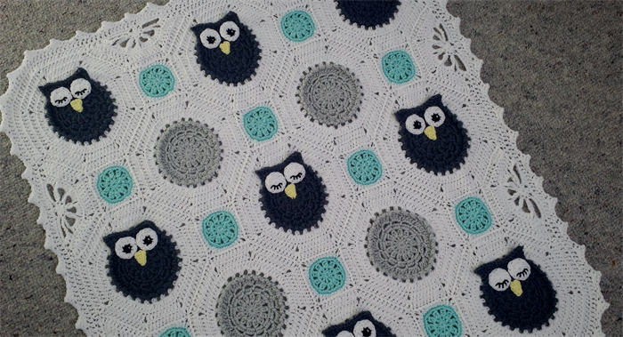 Free Crochet Pattern For Owl Baby Blanket : Crochet Owls Baby Blanket Hayleys Little Things madeit ...