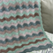 green, beige, brown waves, crochet blanket, wool, acrylic, bedding