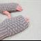 Tween fingerless gloves - taupe grey / soft merino wool / 8-12 years