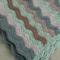 green, beige, brown waves, crochet blanket, wool, acrylic, bedding