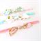 Knot Bow Headband Set - Designer Fabric - Pink Aqua Gold - Geometric