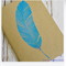 Blue Feather - Hand Stamped & Glitter Embossed Blank Page Journal Notebook