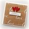 engagement card handmade kraft brown love print