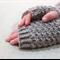 Tween fingerless gloves - taupe grey / soft merino wool / 9-12 years