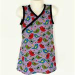 Sizes 0 to 5 - Girls Purple Wrap Around Dress, little bird print