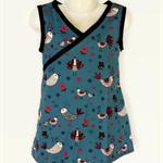 Sizes 0 to 3 - Girls Blue Wrap Around Dress, little bird print