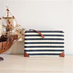 Nautical Travel pouch wallet / zipper purse in navy stripes/ passport holder