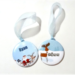 2 Personalised Christmas decorations.