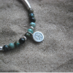 Peace Sign 925 Silver Turquoise bracelet Peace Healing gemstone bracelet