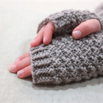 Tween fingerless gloves - taupe grey / soft merino wool / 9-12 years